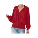 Womens New Stylish Simple Plain V-Neck Long Sleeve Pleated Blouse Top