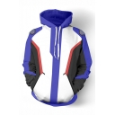 Popular Game Colorblock 3D Printed Cosplay Costume Purple and White Drawstring Hoodie