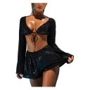 Womens Sexy Sequined Plaid Long Sleeves V Neck Crop Top with Loose Elastic Shorts Co-ords