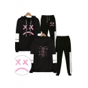Trendy Casual Letters Print Long Sleeve Loose Hoodie with Elastic Sweatpants Co-ords