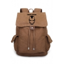 New Trendy Simple Comic Logo Printed Drawstring Canvas Traveling Bag Backpack 30*36*16cm