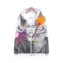 Hot Popular American Rapper Singer 3D Printed White Long Sleeve Zip Up Hoodie