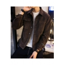 Hot Fashion Plain Corduroy Lapel Collar Button Closure Pockets Casual Jacket for Men