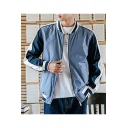 Mens New Stylish Color Block Printed Stand Collar Long Sleeve Zip Up Casual Fitted Jacket Coat
