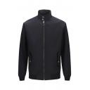 Basic Simple British Style Plain High Neck Long Sleeve Zip Up Leisure Jacket