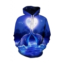 New Fashion Cute Dolphin Ocean Heart 3D Printed Long Sleeve Unisex Casual Loose Fit Navy Hoodie
