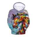 New Stylish Colored Painting Horse Printed Long Sleeve Unisex Purple Drawstring Pullover Hoodie