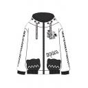 New Fashion Trendy Cartoon Printed Long Sleeve White Casual Unisex Zip Up Hoodie