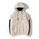 Guys Hot Fashion Letter LONGMAI Pattern Long Sleeve Zip Up Hooded Jacket With Pockets