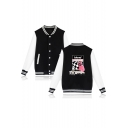 New Arrival Letter Blond Car Figure Printed Long Sleeve Stand Collar Button Down Baseball Jacket