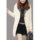 Trendy Plain Cable Knit Long Sleeve Hoodie Open Front Longline Cardigan with Fluff
