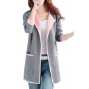 Womens Business Style Chic Plain V Neck Long Sleeve Midi Cardigan with Pockets