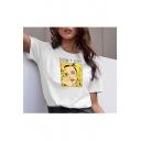 Summer Hot Stylish Letter DON'T CRY Comic print Round Neck Short Sleeve White Tee Top