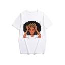 Funny Cute Cartoon Girl Pattern Round Neck Short Sleeve Summer T-Shirt