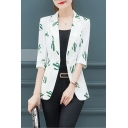 Cactus Pattern Printed Notched Lapel Collar Single Button White Chiffon Vintage Blazer