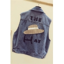 THE HAT Letter Pattern Printed Back Lapel Collar Causal Denim Jean Vest