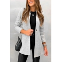 Simple Women's Plain Stand Up Collar Single Button Fitted Longline Wool Coat