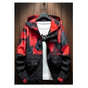 Guys Cool Stylish Camouflage Patch Print Long Sleeve Casual Zip Up Hooded Jacket Coat