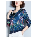 Graceful Birds and Floral Printed Long Sleeve Satin Baseball Jacket Skin Coat for Women