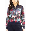 Chic Women's Embroidery Floral Printed Lace Panel Zipper Translucent Jacket Coat