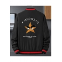 New Arrival Popular Letter FASHO WEAR Starfish Print Long Sleeve Zip Placket Fitted Black Jacket