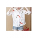 Summer Colorful Lines Pattern Printed Hooded Zipper Loose Thin Skin Coat with Pockets
