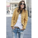 Stylish Outfits Ideas Stand Collar Raglan Sleeves Double Breasted Uniform Jacket Coat with Flap Pocket