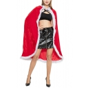 Christmas Theme Red Plain Pleuche Tied Hooded Mid-Length Cloak Cape