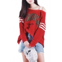 Womens Fashion Red VIRGINIA Letters One Shoulder Boxy Sweater