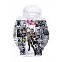 Popular Comic Figure 3D Printed Black and White Long Sleeve Unisex Pullover Hoodie