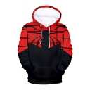 Hot Popular Comic Spider Web 3D Printed Black and Red Long Sleeve Pullover Hoodie
