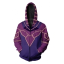 Popular Fashion Comic Cosplay Costume Purple Long Sleeve Full Zip Drawstring Hoodie