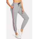 New Stylish High Drawstring Waist 3-Stripe Elastic Ankle Detail Casual Sweatpants