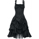 Vintage Gothic Style Simple Plain Sleeveless Ruffled Hem Lace-Up Front Maxi Strap Dress