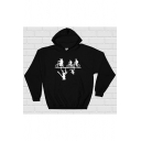 Upside Down Biker Figure Print Long Sleeve Sport Hoodie