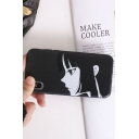 Fashion Comic Boy and Girl Printed Black iPhone Case for Couple
