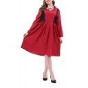 Womens Hot V-Neck Long Sleeve Color Block Sashes Loose Burgundy Chiffon A-Line Midi Dress
