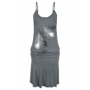 Womens Sexy Beach V-Neck Sleeveless Leaf Print Sashes Gray Sheath Cami Midi Dress