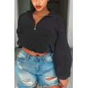 Half-Zip Stand Collar Black Plain Long Sleeve Casual Crop Sweatshirt With Pocket