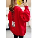 Cute Cartoon Girl Letter Printed Long Sleeve Round Neck Oversize Sweatshirt