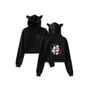 Lovely Cartoon Cat Ear Long Sleeve Popular Letter Printed Cropped Hoodie
