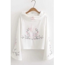 New Fashion Flower And Deer Embroidered Frog Button Front Long Sleeve Loose Drawstring Hoodie