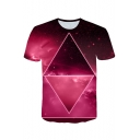 Summer Stylish Red Classic Mens Short Sleeve Round Neck 3D Galaxy Printed Sport Tee