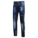 Men's Hot Fashion Contrast Stripe Side Stretched Slim Fit Dark Blue Frayed Jeans