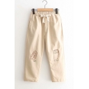 Womens Hot Fashion Drawstring Waist Bread Cup Embroidered Leisure Straight Pants