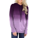 Womens Stylish Long Sleeve Pocket Front Gradient Pullover Straight Sweatshirt