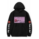 Hot Trendy Womens Long Sleeve THANK U NEXT Letter Lip Printed Pullover Hoodie with Pocket