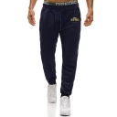 Men's New Fashion Letter THE KING Printed Drawstring Waist Casual Cotton Sweatpants