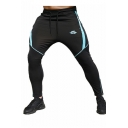 Men's Popular Fashion Colorblock Patched Logo Printed Drawstring Waist Casual Fitness Pants Pencil Pants