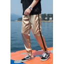 Guys Simple Fashion Contrast Stripe Side Elastic Cuff Casual Relaxed Fit Track Pants